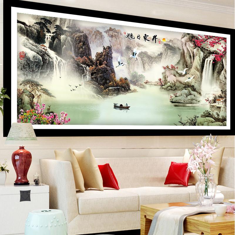 5鉆石畫滿鉆客廳迎客松風景大幅旭日點鉆十字繡貼鉆畫