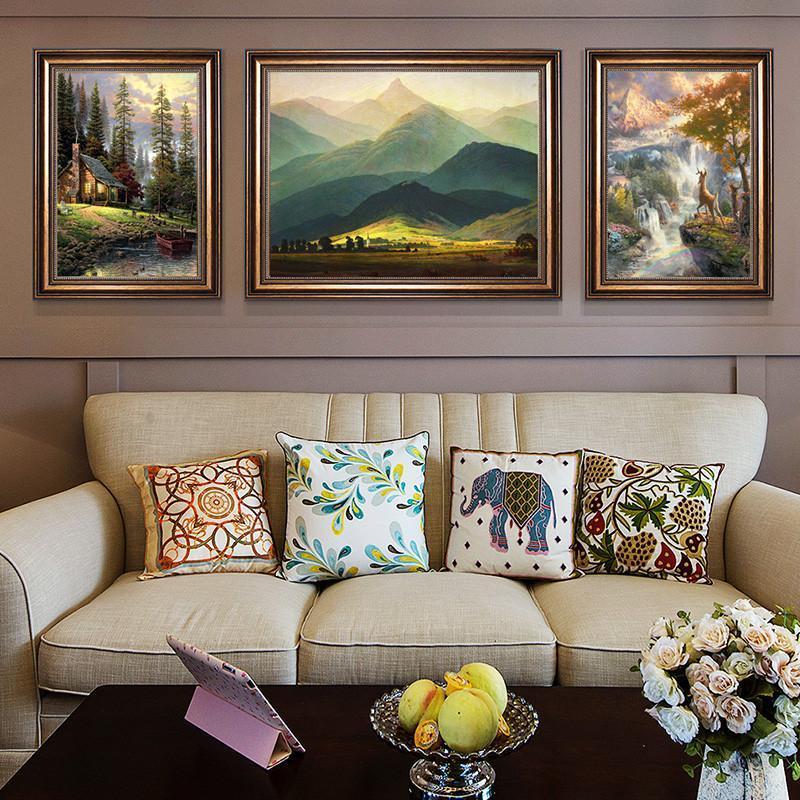 钻石画满钻客厅大幅5新款欧美油画风景卧室三联画点贴