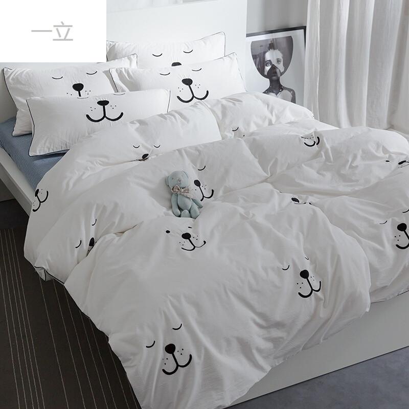 卡通可爱刺绣水洗棉四件套小清新床单床笠礼盒包装 萌萌