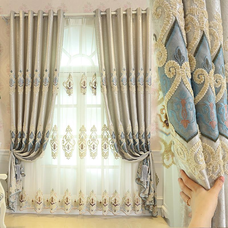 简约现代欧式卧室客厅温馨豪华高档遮阳隔热防晒落地窗帘纱帘成品