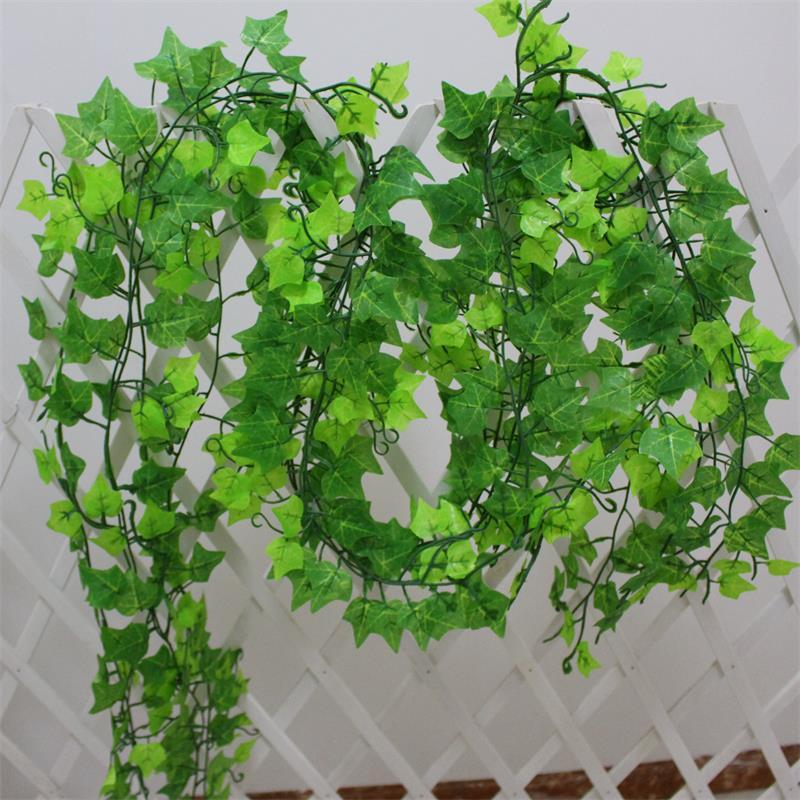 仿真藤蔓假花藤条树叶植物绿叶假草葡萄叶管道吊顶室内装饰塑料花
