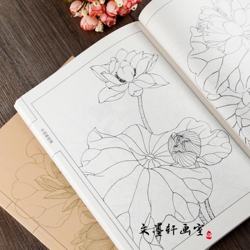 中国画线描 百荷画谱 线描白描画谱 零基础绘画白描画稿荷花雕刻