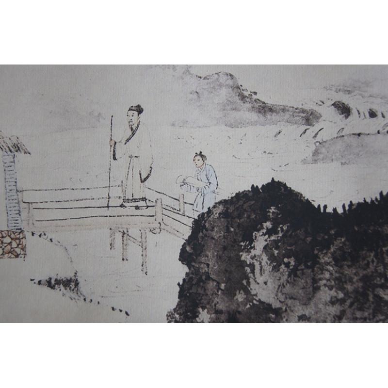1:1名家真迹国画山水画古代名画复制品临摹唐寅事茗图