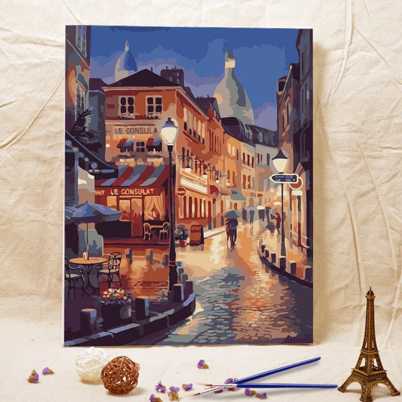 diy数字油画客厅风景人物花卉填色数码手绘欧式装饰画威尼斯夜景