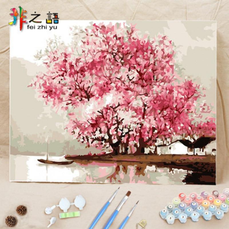 加厚款 diy数字油画手绘客厅卧室风景花卉人物油彩装饰画