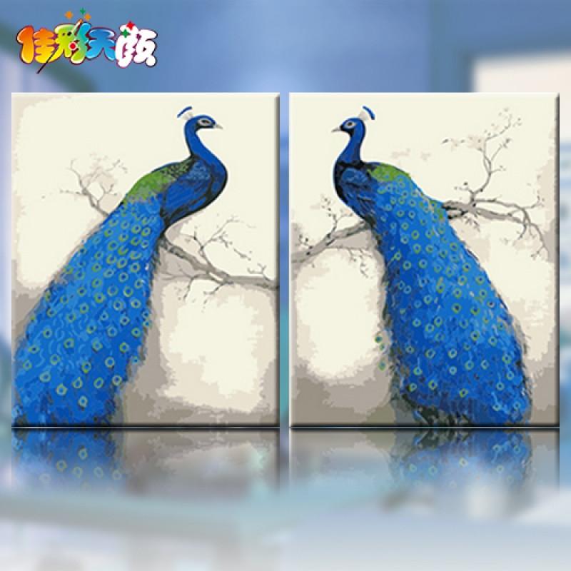 【diy数字油画风景动物大幅花鸟手绘油彩装饰画蓝色孔雀