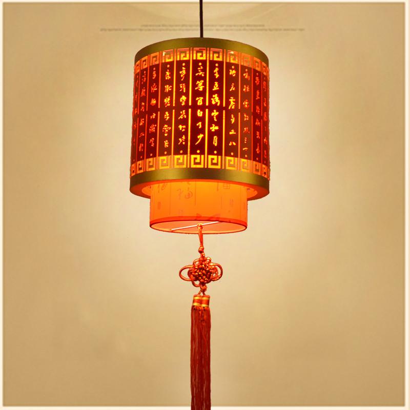 中式阳台灯笼吊灯新年餐厅仿古宫灯中国风古风羊皮木艺led乔迁图片