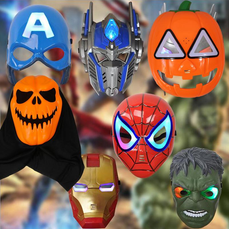儿童蜘蛛侠面具圣诞节搞怪头饰舞会派对 幼儿园发光演出道具玩具