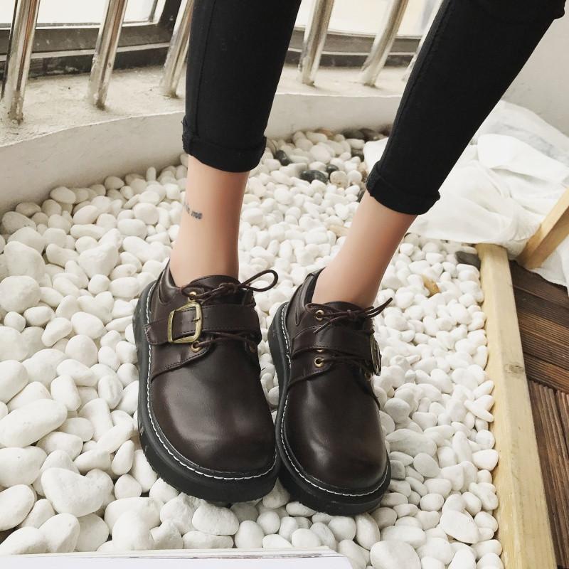 新款小皮鞋女学生韩版百搭原宿日系软妹可爱圆头复古松糕英伦厚底单鞋