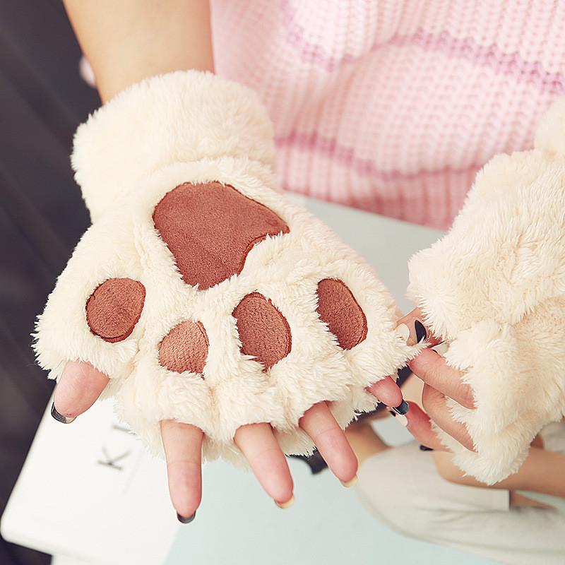 手套女冬季学生可爱半指男女士加厚骑车保暖韩版毛绒卡通猫咪爪子