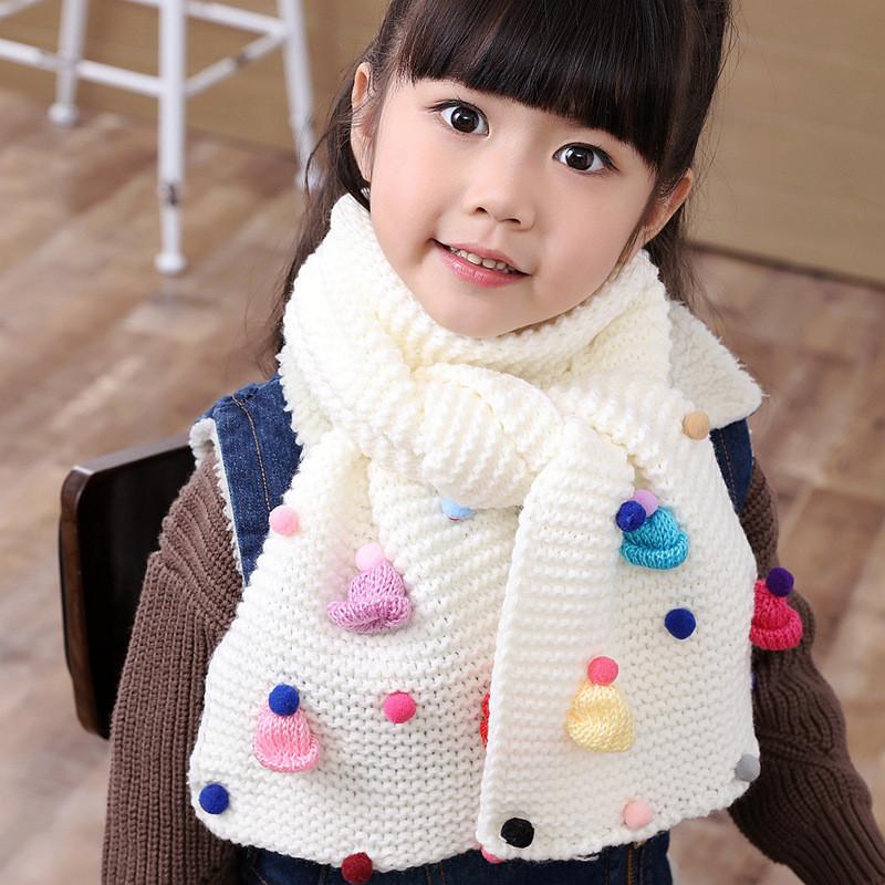 天天秋冬小孩保暖儿童毛线围巾韩版女童可爱公主宝宝围脖中童