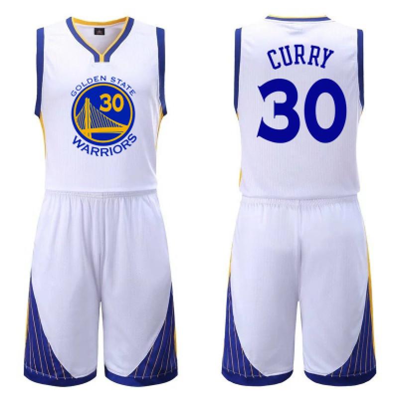 勇士队篮球服30号库里球衣35号杜兰特11号汤普森训练服儿童套装男