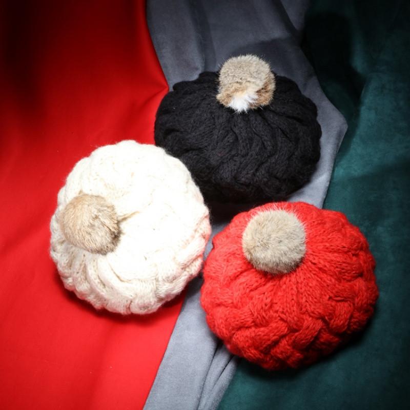 2017热卖邪恶先生手工编织纯色兔毛球球毛线贝雷帽子女冬天加厚保暖针