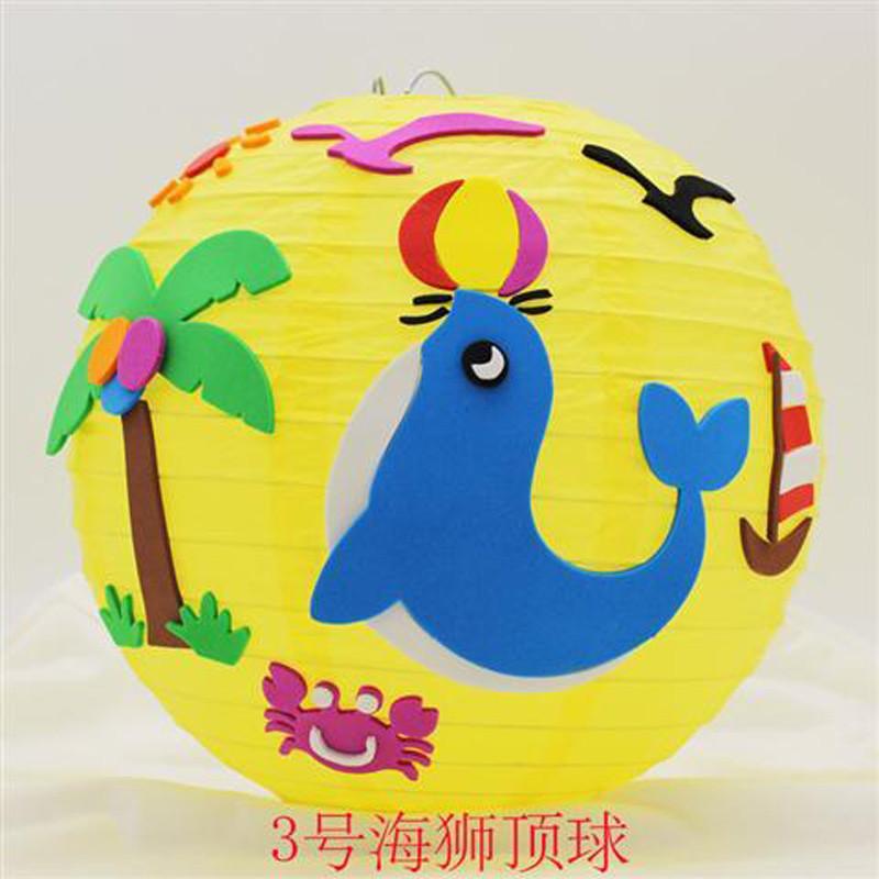 元宵节幼儿园儿童卡通手提diy灯笼手工制作材料包纸灯笼立体粘贴 图案