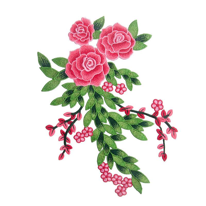 刺绣玫瑰花布贴衣服手工diy装饰旗袍礼服定制辅料补丁