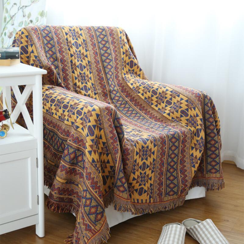 北欧花纹毛毯加厚印花全棉针织线毯地毯装饰毯单人沙发巾双人盖毯
