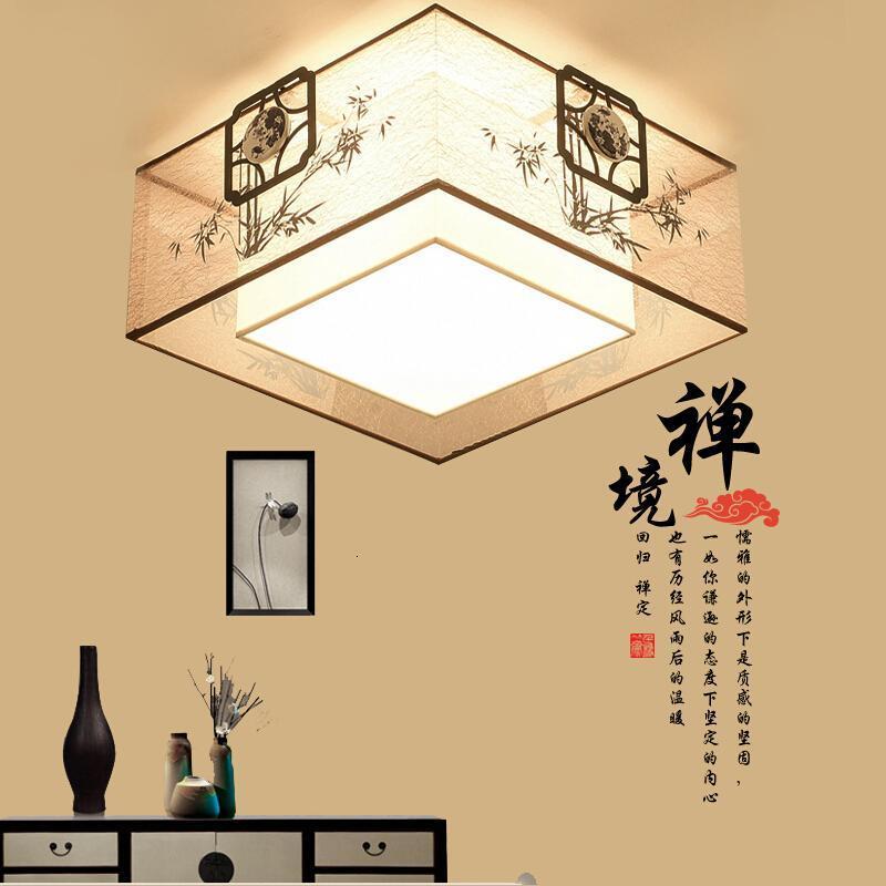 现代简约新中式led吸顶灯客厅正方形中国风书房卧室餐厅布艺灯c款直径