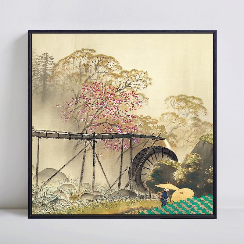 川合玉堂春雨中式客厅沙发背景墙风景画装饰画墙壁画挂画墙画墙面江南