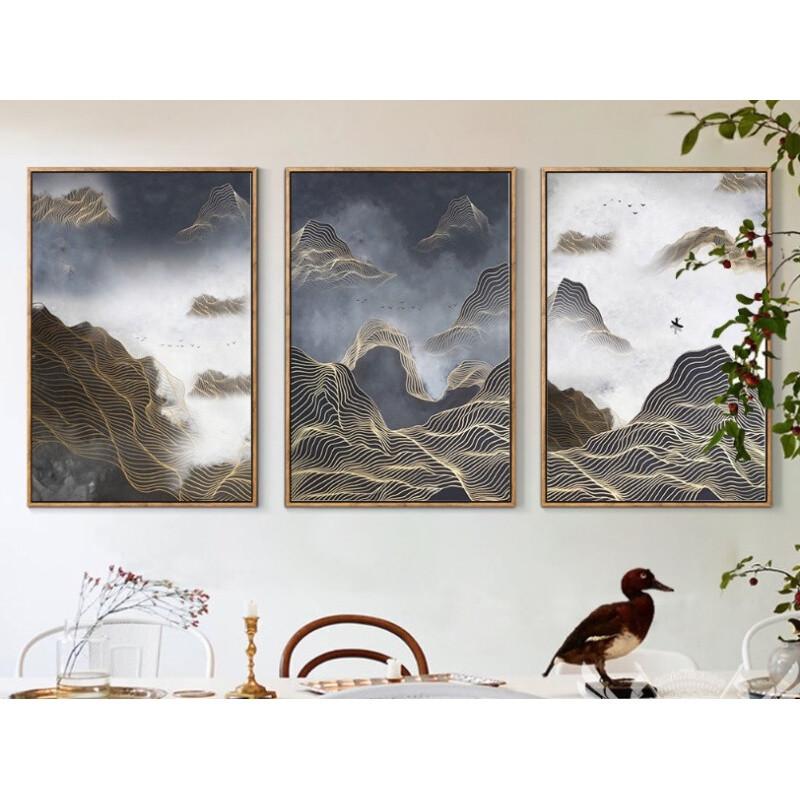 禅意境新中式抽象山水风景装饰画现代简约客厅餐厅书房办公室挂画