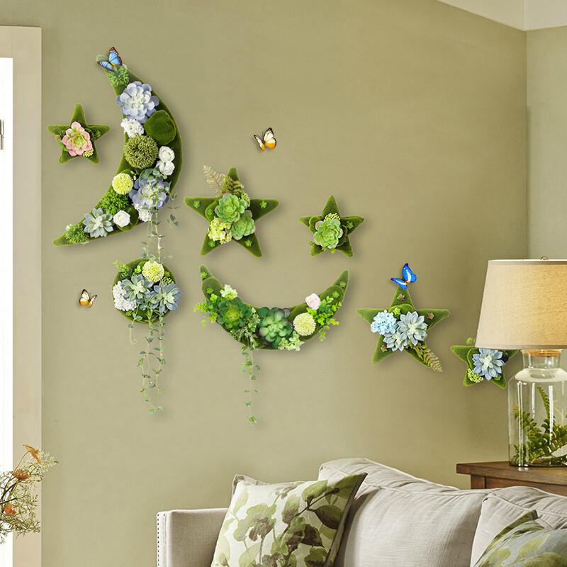 欧式店铺餐厅创意墙上装饰品挂件客厅电视墙仿真植物墙饰壁饰挂饰