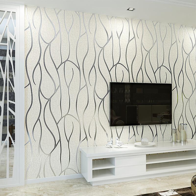 曲线条纹客厅电视背景墙壁纸现代简约卧室墙纸无纺布壁纸3d影视墙米