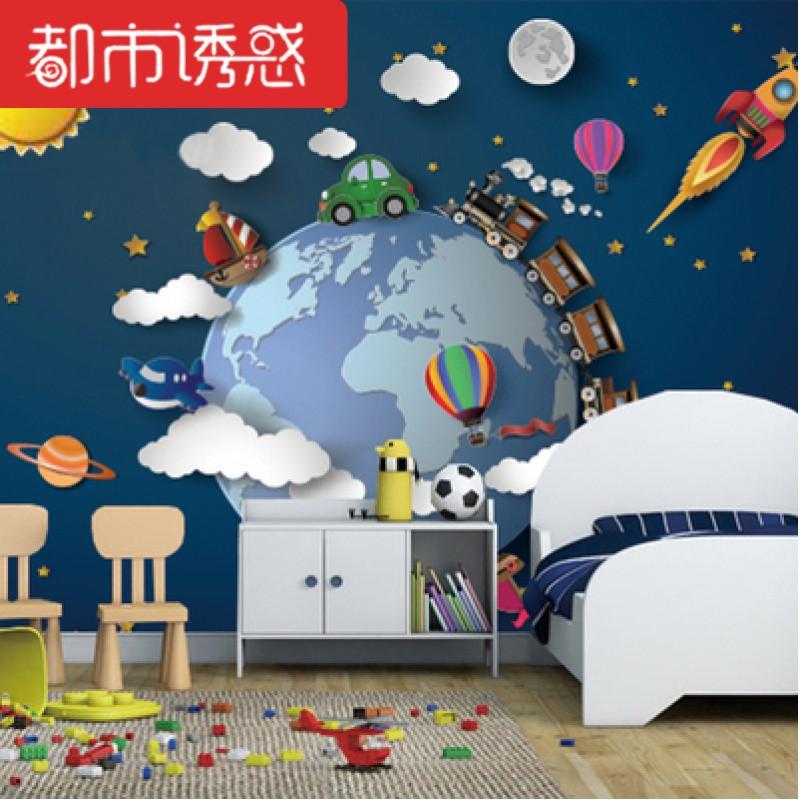 手绘太空宇宙儿童房星空星球壁纸男孩卧室墙纸墙布3d立体卡通壁画【整