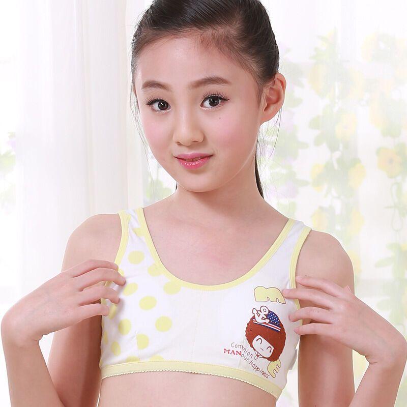 小女生发育期内衣花朵图案女童内衣少女文胸纯棉学生小背心12-13-15