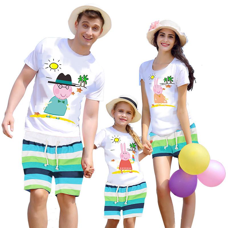 269新款小猪佩奇亲子装一家三口套装夏季全家装母子母