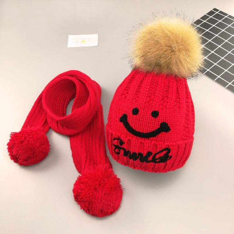 qmsy新款儿童帽子秋冬韩版潮男女孩毛线帽手工编织围巾保暖护耳帽宝宝
