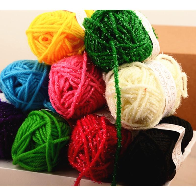 彩色毛线球毛线团儿童手工制作diy编织粘贴画娃娃头发