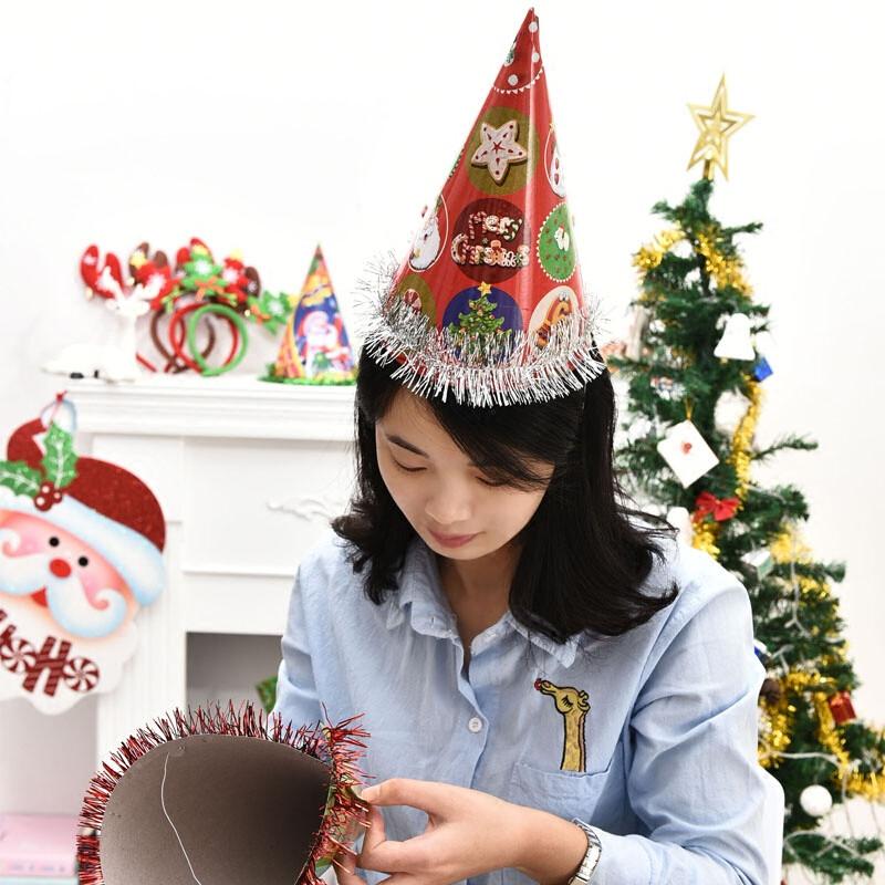 圣诞帽子礼品 儿童圣诞节活动装扮服装道具装饰用品 老人帽子礼品lm