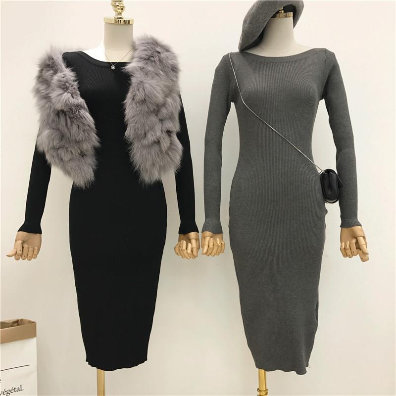 中长款针织连衣裙女秋冬新款修身毛衣裙韩版长袖黑色裙子打底长裙