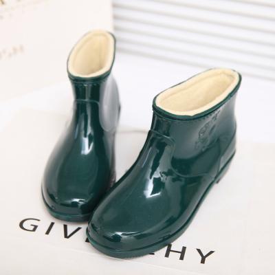 中短筒加绒雨鞋男女士款防水防滑耐磨工作鞋塑胶套鞋水鞋保暖雨靴