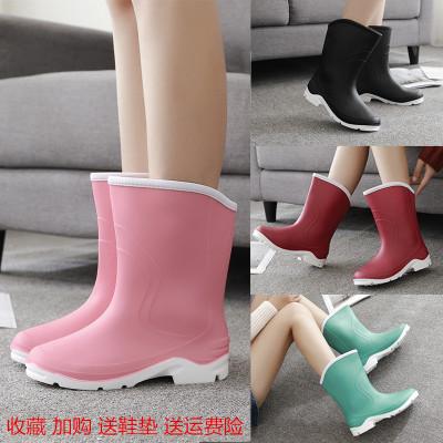 秋冬时尚中筒雨靴短筒女水靴胶鞋套鞋防滑加绒保暖水鞋成人雨鞋女