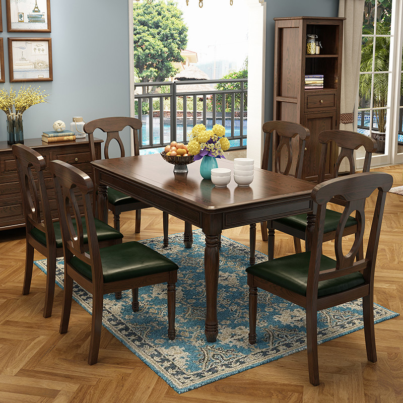 一号豪庭 餐桌 实木餐桌 美式餐厅桌椅套装实木餐桌椅图片