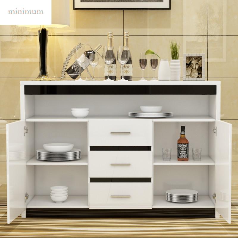 现代简约餐边柜烤漆茶水柜储物柜多功能白色碗柜厨房酒柜收纳柜子
