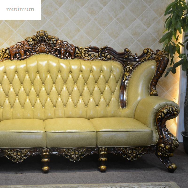 大户型 家具欧式皮沙发 美式黄色沙发 古典实木别墅沙发6538