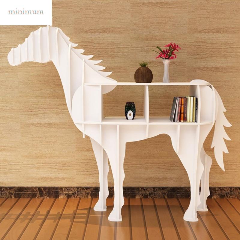 创意书架置物架黑色骏马边几动物造型玄关桌ktv商铺开业庆典装饰