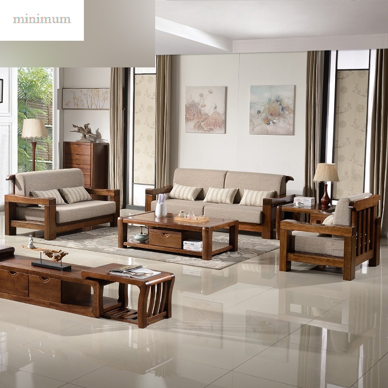胡桃木u型转角胡桃木沙发实木沙发中式木架沙发