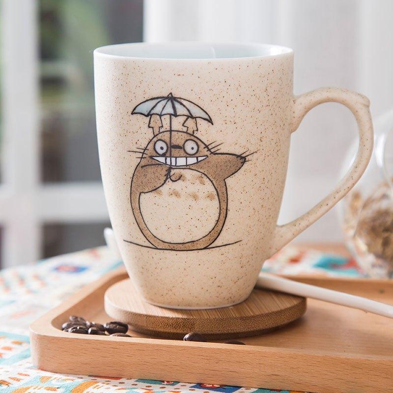 330ml带盖勺子简约早餐水杯磨砂陶瓷马克杯咖啡杯可爱手绘杯子陶瓷
