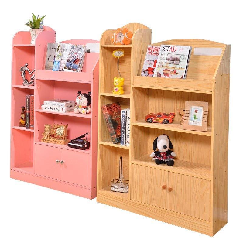 儿童书架学生书架儿童书柜书架简易置物架书橱收纳组合储物柜带门多色图片