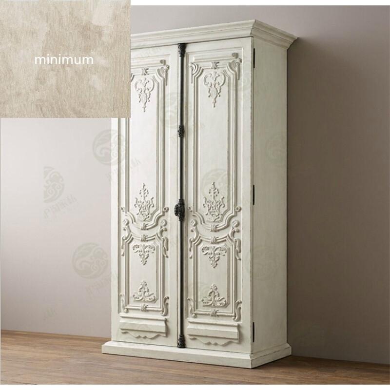 美式白色雕花大衣柜田园公主风格实木仿古白两门衣柜卧室储物柜子