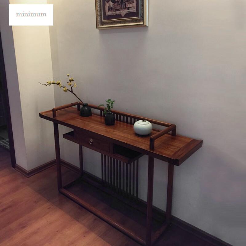 现代中式玄关台中堂条几纯实木供桌供台隔断玄关桌禅意老榆木条案带图片