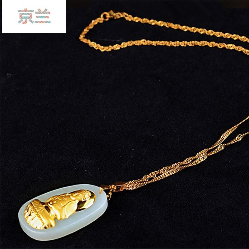 金镶玉金项链