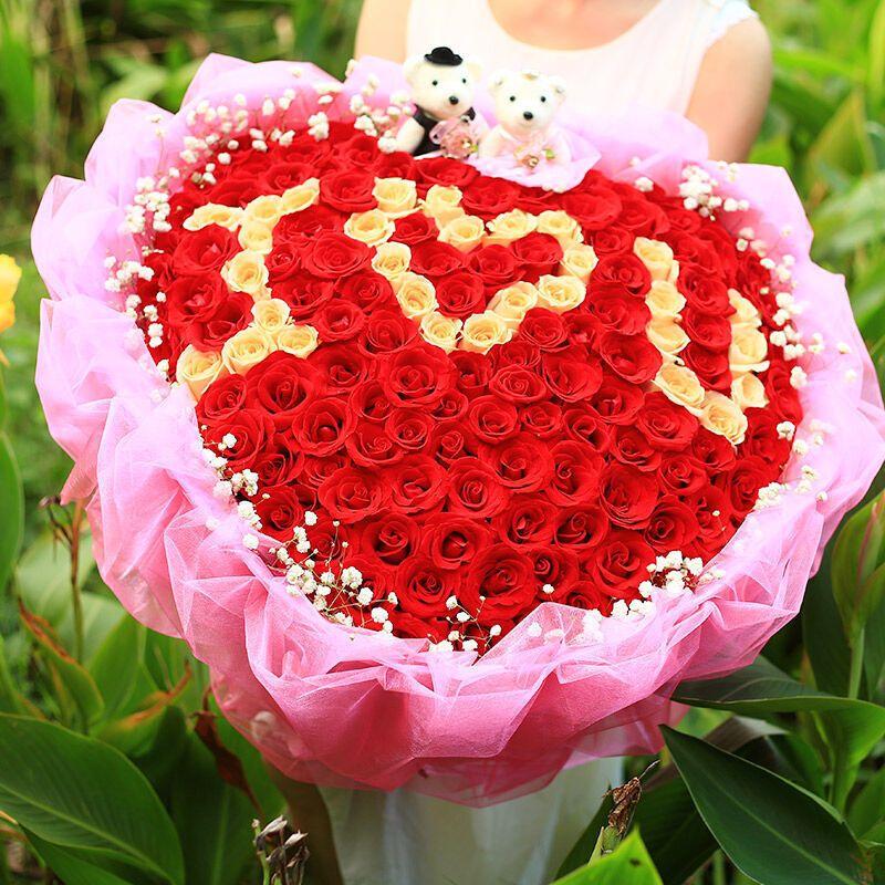 99朵iou红玫瑰花束生日送爱人佛山南海禅城鹤山江门鲜花速递同城