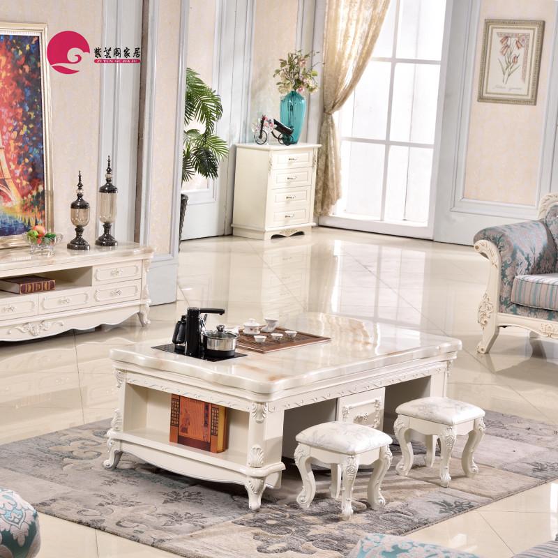 欧式大理石功夫茶几客厅实木雕花储物茶台简约大小户型电视柜组合
