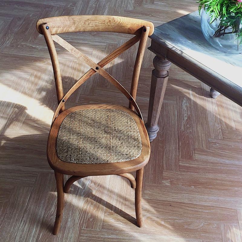 美式乡村复古餐椅做旧原木椅实木背叉靠背椅法式工业风咖啡馆椅子