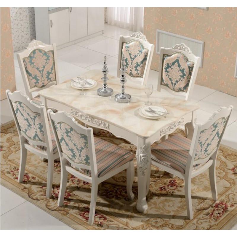 欧式餐桌椅组合6人实木田园小户型长方形天然大理石餐桌餐台饭桌