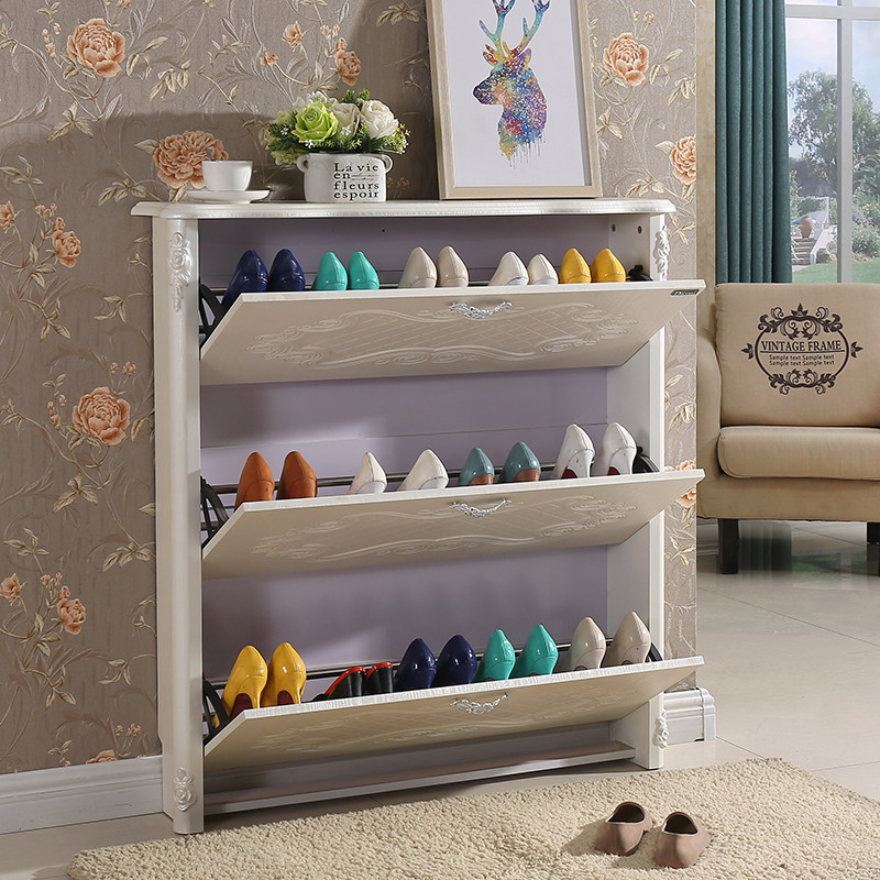 超薄翻斗鞋柜17cm欧式雕花白色田园经济型简约现代门口玄关门厅柜