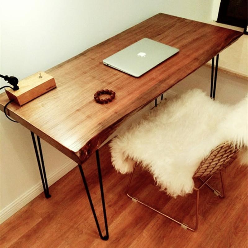 包邮北欧简约实木卧室书桌家用办公桌椅不规则电脑桌设计师写字台